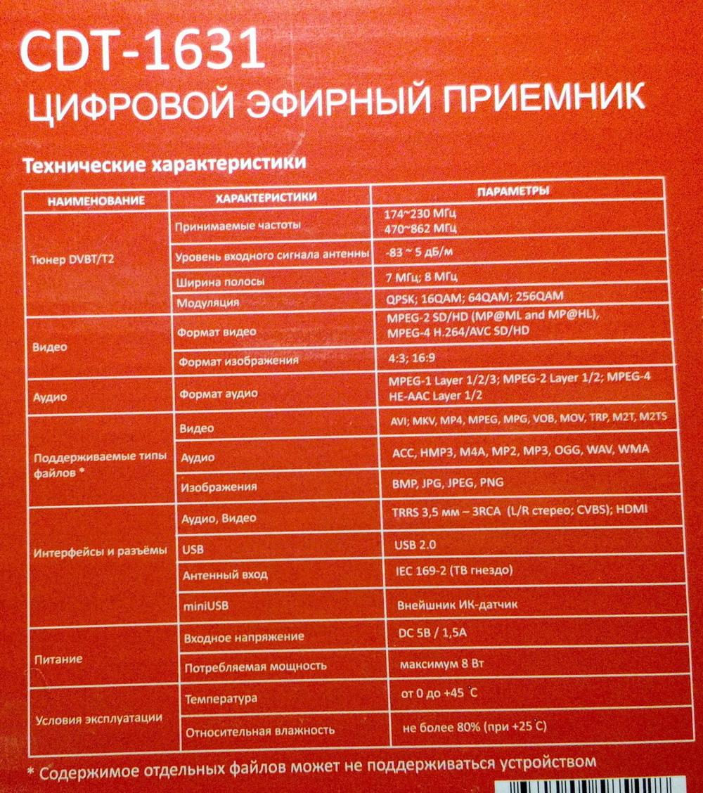 Воспроизводимые форматы cadena cdt-1631